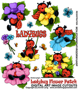 Flower Patch Ladybugs Clipart