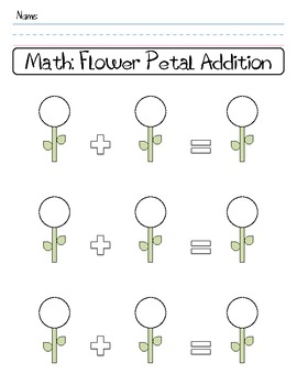 Flower Petal Addition Worksheet