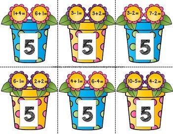 Flower Pot Addition & Subtraction 'Find My Equation' Clipping Cards & Printables