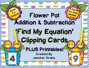 Flower Pot Addition & Subtraction 'Find My Equation' Clipp