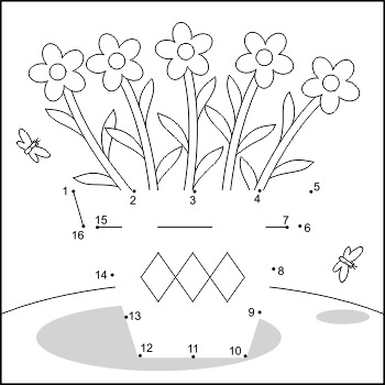 Flower Pot Connect the Dots and Coloring Page, Commercial Use Allowed
