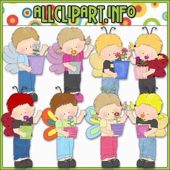 Flower Pot Kids Clip Art - Cheryl Seslar Clip Art