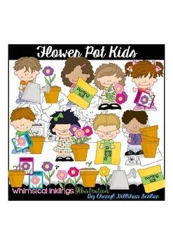 Flower Pot Kids Clipart Collection