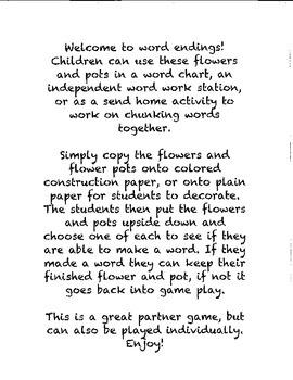 Flower Pot Word Endings - Blending Sounds