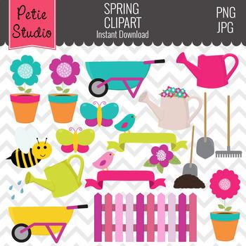 Garden Clipart // Spring Clipart // Butterfly Clipart - Spring107