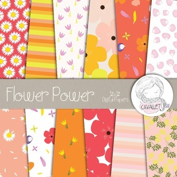 Flower Power - Digital Paper, Flower Patterns, Spring Digital Paper