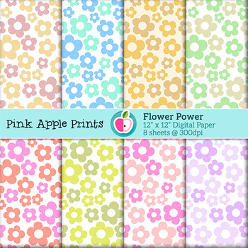 Flower Power Digital Paper Set: Graphics for Teachers