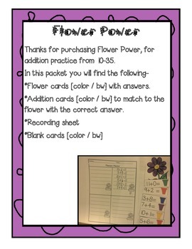 Flower Power ; Addition practice 10 -35