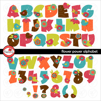 Flower Power Alphabet Floral Letters and Numbers Clipart by Poppydreamz