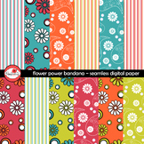 Flower Power Bandana Paisley Country Western Digital Backgrounds by Poppydreamz