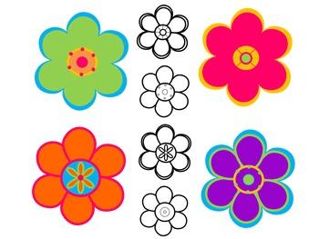 Flower Power Clip Art {by Busy Bee Clip Art}
