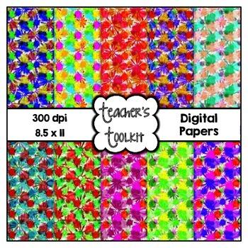 Flower Power Digital Background Papers {8.5 x 11} Clip Art CU OK