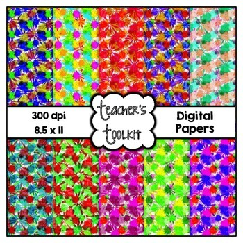 Flower Power Digital Background Papers {8.5 x 11} Clip Art CU OK