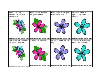 Flower Power Formulating Questions Matching Game