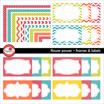 Flower Power Frames and Labels Digital Borders Clipart by