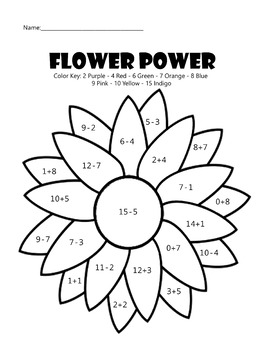 Flower Power Math Coloring Worksheet