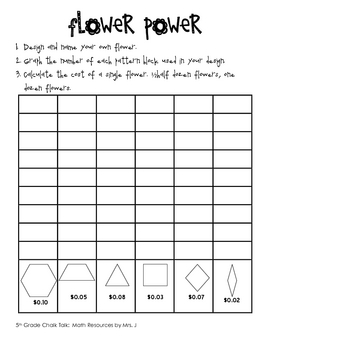 Flower Power:  Problem Solving, Multiplying Decimals, and Graphing