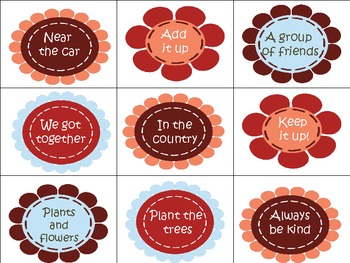 Flower Power! Sight Word Phrases Game