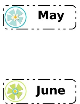 Flower Power Themed Calendar Months