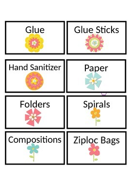 Flower Power Themed Supply Labels