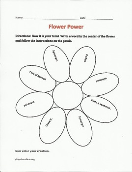 Flower Power Vocabulary and Writing Unit