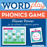 Flower Power r-controlled or, ar, schwa + r Phonics Game - Words Their Way Game