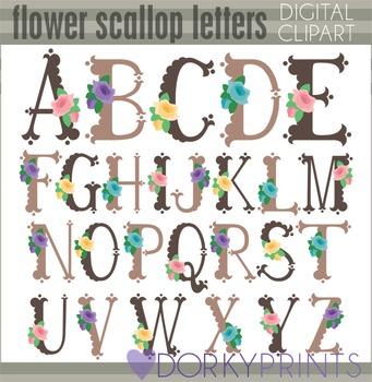 Flower Scallop Alphabet Clip Art