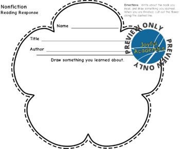 Flower Shaped Reading Response Sheets for Any Book