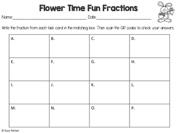 Flower Shop Fractions Task Cards with QR Codes