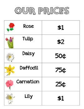 Flower Shop prices for dramatic play