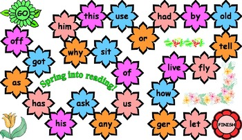 Flower Sight Word Board Games