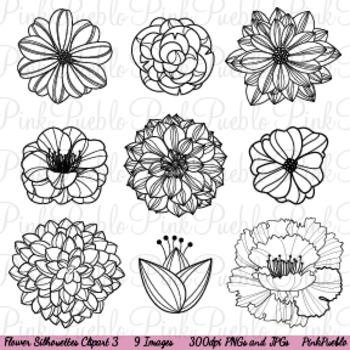 Flower Silhouettes 3 Clip Art - Commercial and Personal Use