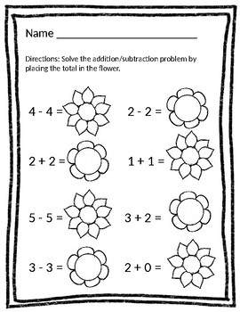 Flower & Spring Growing - Check the Sign - Addition & Subtraction Worksheets