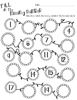 Flower/Spring themed math-Fill in the Missing Numbers 1-20 ...