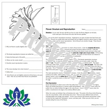 Flower Structure Plant Sexual Reproduction Worksheet NGSS MS-LS1-4 MS-LS3-2