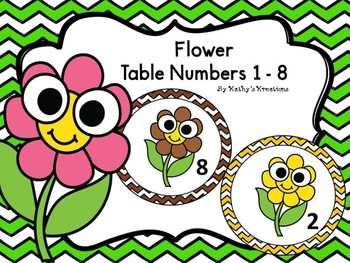 Flower Table/Group Numbers 1-8