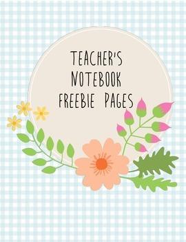 Flower Teacher's Notebook Freebie Pages