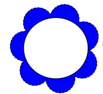 Flower Template (Blue) With Blank Circle