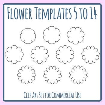 Flower Templates - 5-14 Petals Clip Art Set Commercial Use