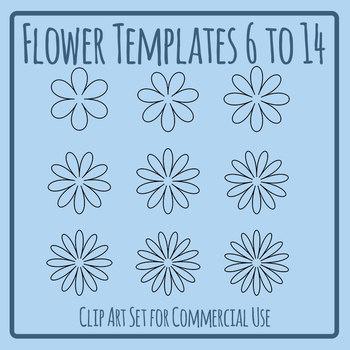 Flower Templates - 6-14 Petals Clip Art Set Commercial Use