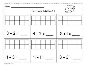 Flower Ten Frame Addition and Subtraction