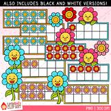 Flower Ten Frames Spring Clip Art