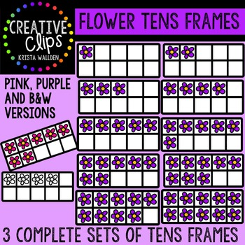 Flower Tens Frames {Creative Clips Digital Clipart}