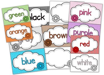 Flower Themed Color Word Cards // Posters