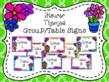 Flower Themed Group/Table Signs