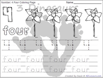 Flower Themed Number Color and Trace