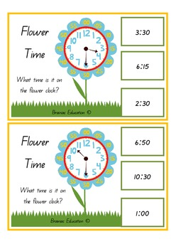 Flower Time O'clock and Half Hour Clip Cards