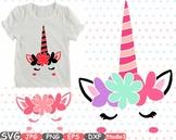 Flower Unicorn birthday Silhouette clipart svg floral head face eyelashes -43sv