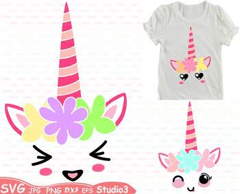 Flower Unicorn birthday Silhouette clipart svg floral head face smile  -67sv