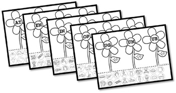 Flower Word Family Cut & Paste Worksheets